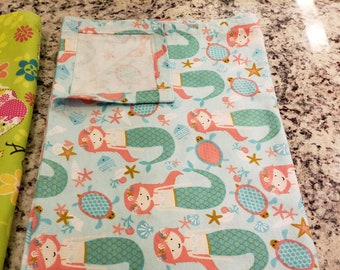 Handmade Flannel Receiving Baby Blanket/Activity Pad (40in by 45in)