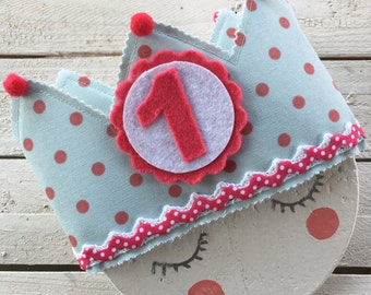 Turquoise Birthday fabric crown with Lunarcitos roses