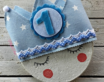 Blue Birthday fabric crown with white stars