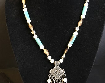 Goth medalion glass beaded necklace