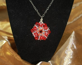 Red Hand-Beaded Crystal Medallion