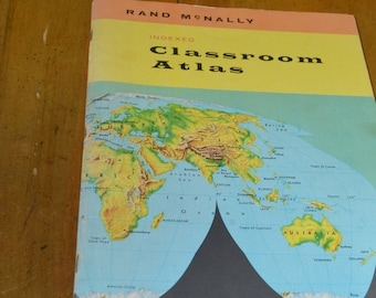 Vintage Rand McNally Indexed Classroom Atlas---From 1959