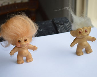 Vintage Troll Dolls---One Marked Dam & One Unmarked---Both From The 1960's