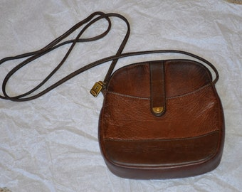 5e8f3ededaa9 Vintage Fossil Handbag---Brown Pebbled Leather---Crossbody Style---From The  1970 s