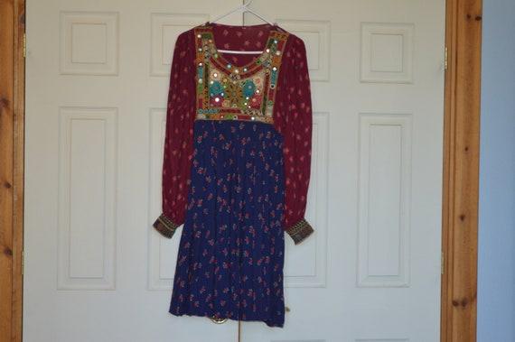 Authenic Afghan Dress---Vintage Boho/Hippie Folk D