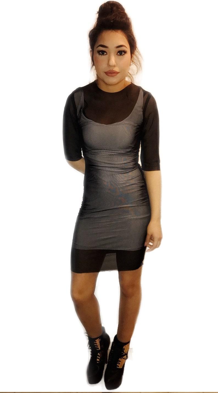 c33c6afa678a Mesh black see thru bodycon dress coverup