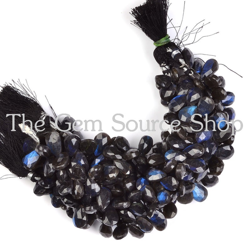 Rare Untreated Labradorite Briolette Faceted Pear Shape,Black-Blue Labradorite Beads AAA+ Quality