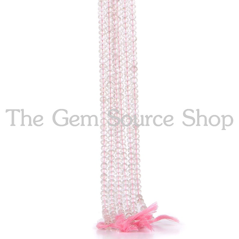AAA Morganite Faceted Rondelle Shape Beads Quality Natural Gemstone Faceted Morganite Beads