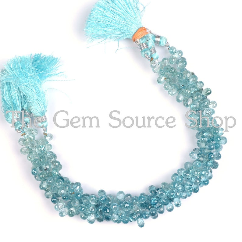 Natural Blue Zircon Briolette Faceted Drop Shape beads Quality Side Drill AAA