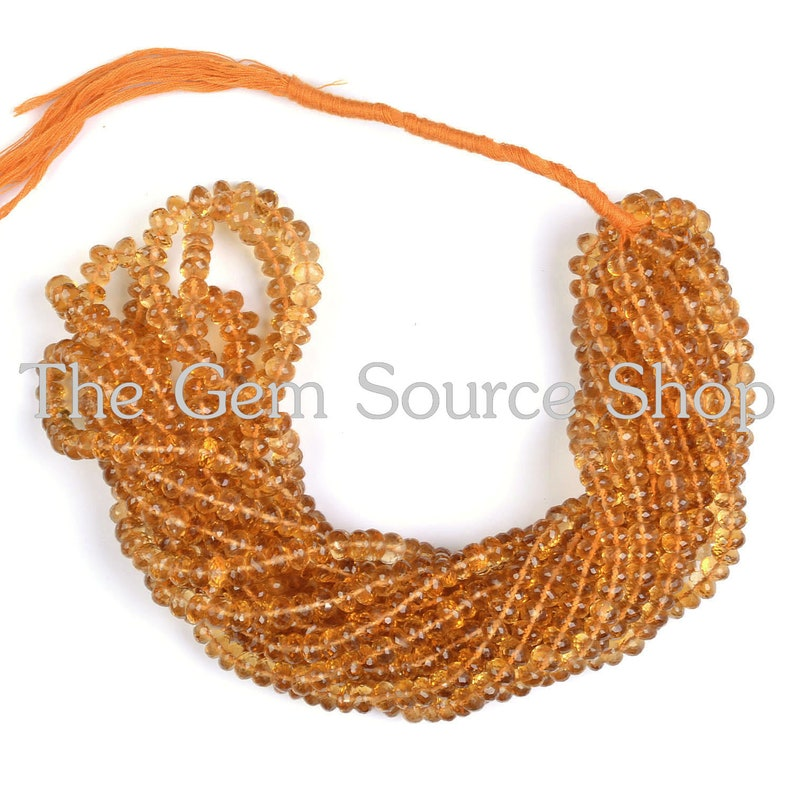 Citrine Faceted Rondelle Beads Top Color Citrine Faceted Beads AAA Quality