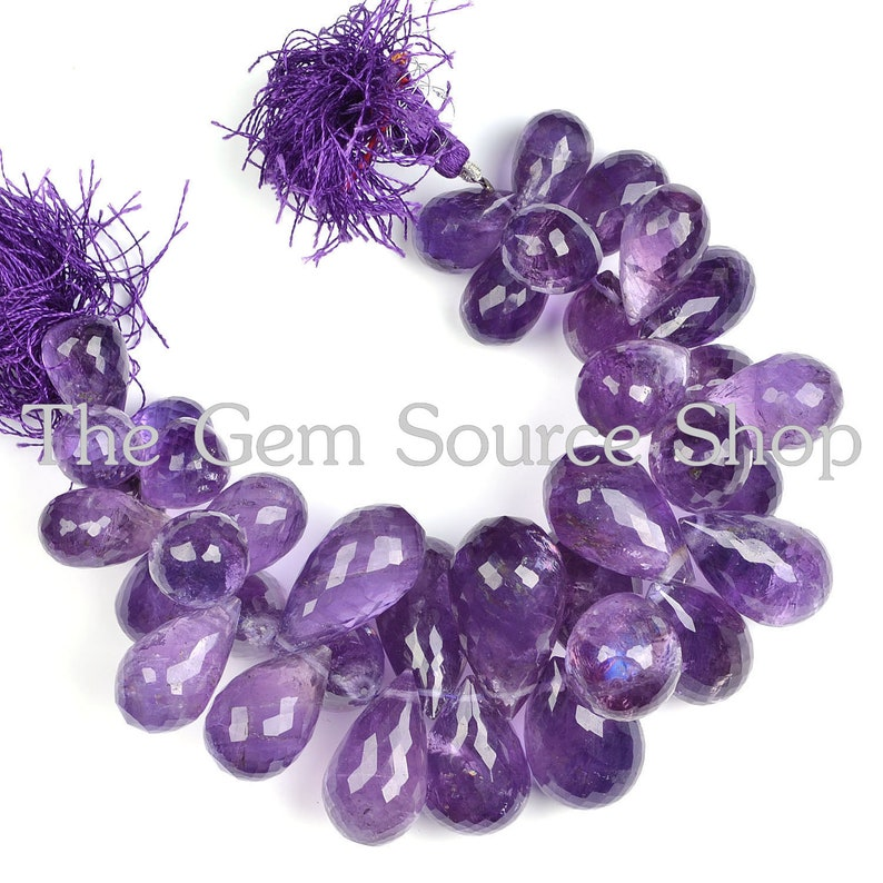 Natural Gemstone African Amethyst Faceted Pear Shape Briolette Beads 10x7MM Approx Size 9 Inch Full Strand Fine Quality Purple Color Beads
