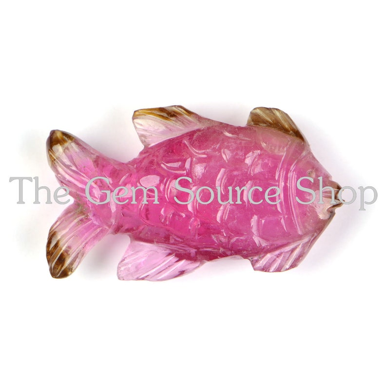 Top Fish Carvings AAA Quality Pink Tourmaline Fish Carvings Tourmaline Carving