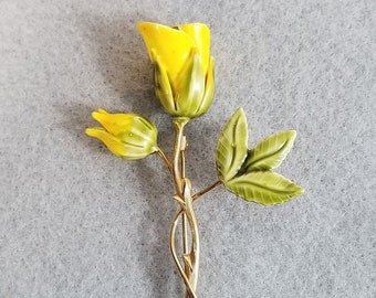 """VTG Vintage Gold tone and Yellow, Green Enamel Tulip Flower Brooch Pin - 2 7/8"""""""