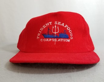 new arrival b30cb 0a4aa Vintage 1980s Red TRIDENT SEAFOODS nautical Snap Back Corduroy Trucker Hat