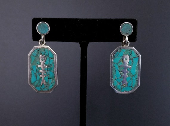 Vintage Turquoise Earrings, Sterling Silver, RMS T