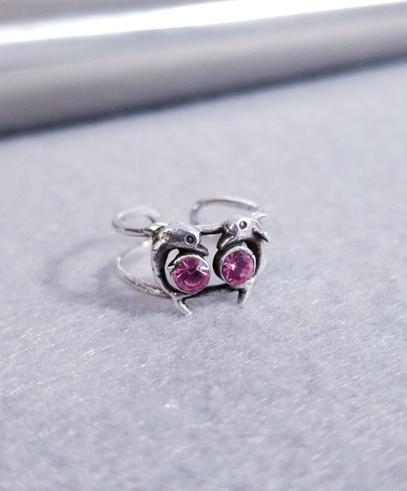 925 Sterling Silver Adjustable Double Dolphin Toe Ring