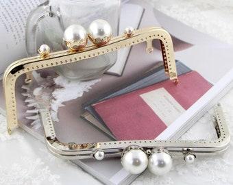 1pcs 20cm light golden  silver fashion half-circle purse clutch  frame clasp  with handle . handbag handle 26dd66d4cad5