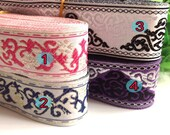 1 Yard Woven Trim Border Flower fabric trim Lace Ethnic ribbon,Embellish jacquard ribbon, Jacquard trim, Vintage trim,Sewing supply,678