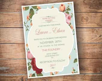 Shabby chic Wedding Invitation, vintage wedding invitation, Floral wedding invitation, printable invitation,  Custom, Personalized, #Bo023