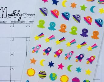 deco stickers, kawaii, little aliens, space