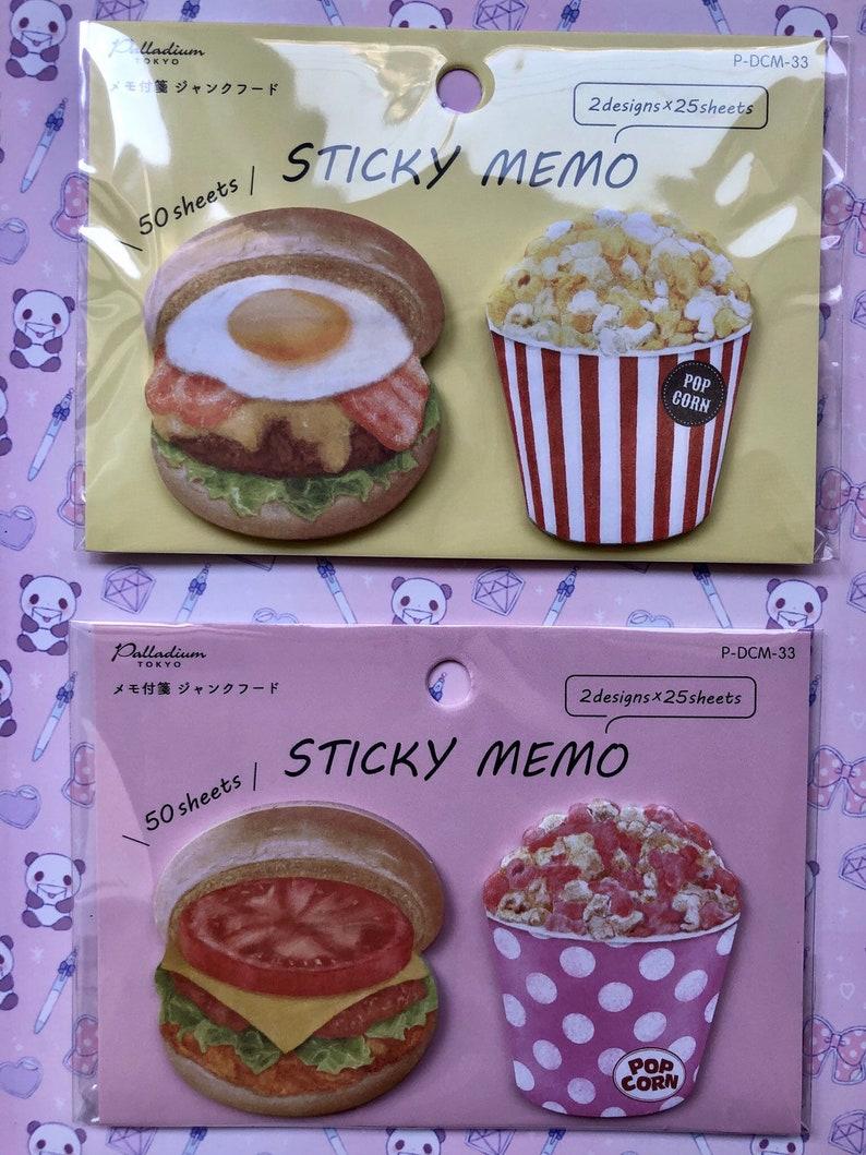 sticky memo, popcorn and hamburger, pink or yellow