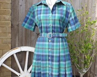 1950's vintage blue and green check dress. Size 12