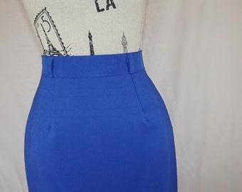 jupe crayon bleu vintage des années 1940