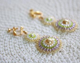 Pearl Series – Bead Woven Earrings in Purple