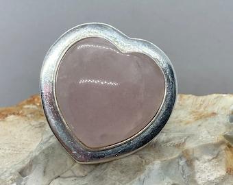 Enormous vintage silver mounted rose quartz heart ring size ukR usa8.5