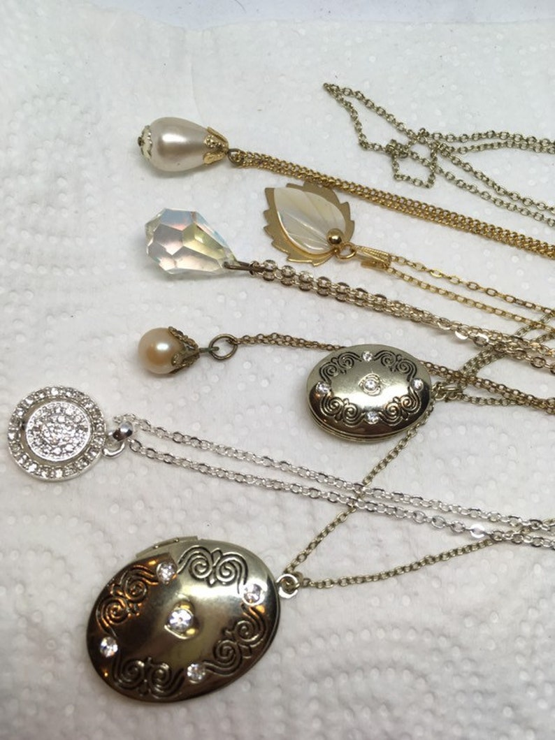 one is silver 7 vintage costume jewellery necklaces