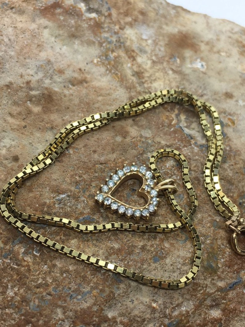 10 carat vintage diamond heart and 9ct box link heavy chain