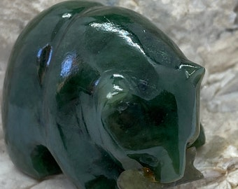 Two green, hardstone figures, bear with fish and turtle