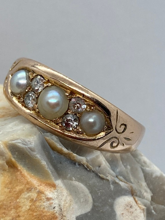 Victorian antique split Pearl and diamond band rin
