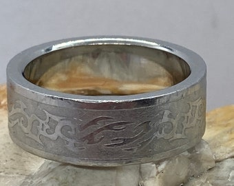 Heavy chunky vintage silver band ring stacker spacer size ukT usa9.5