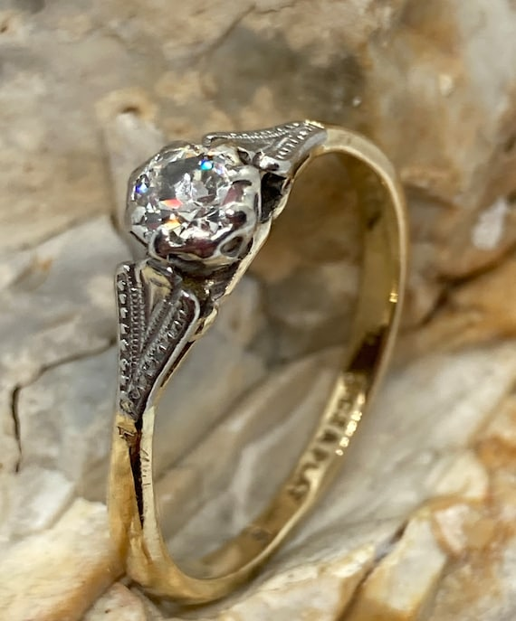 Antique Old cut diamond solitaire ring 18ct gold 1