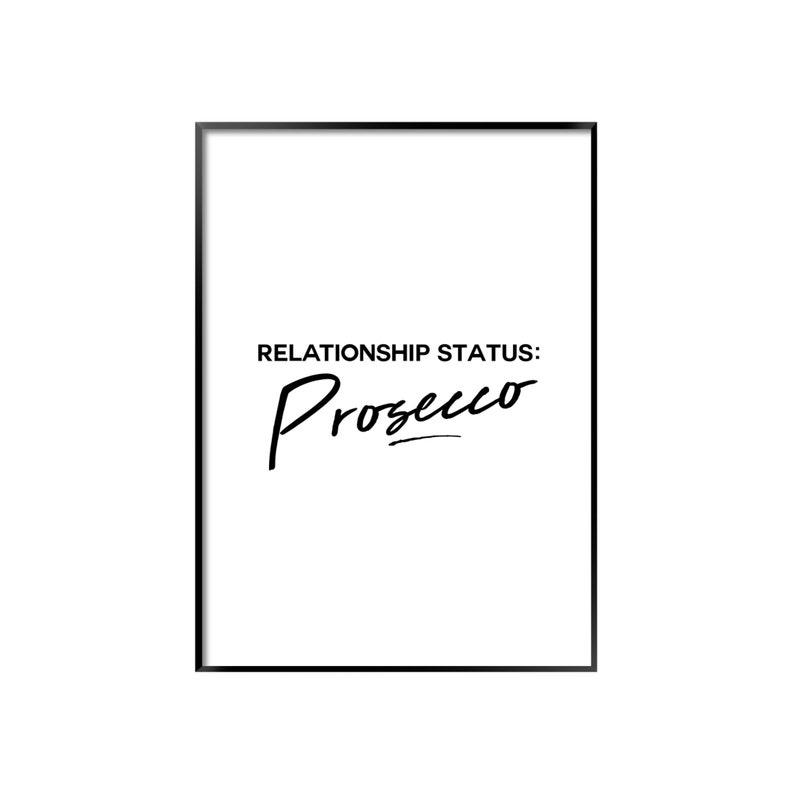 Beziehungsstatus Prosecco Poster Kuche Schwarz Weiss Etsy