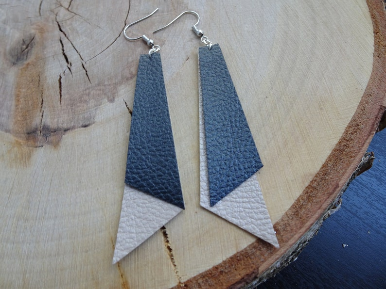 Angled Faux Leather Earrings