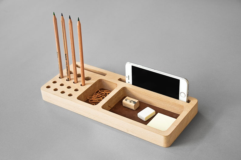 Leather Desk Organizer Wood Industrial Desk Accessories Tray Pencil Holder Card And Phone Holder