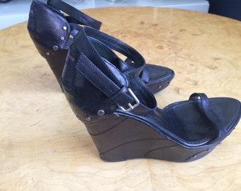 71da2a4af Yves Saint Laurent Rive Gauche leather wedge, heel, sandals, size 40,  authentic