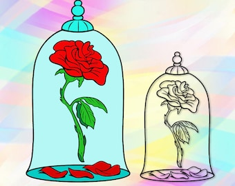 SVG PNG Beauty Beast Rose Layered Cut Files Cricut Designs Silhouette Studio Vinyl Decal Tshirt Heat Iron On Coloring Pages Transfer Paper