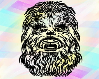 SVG DXF PNG Star Wars Chewbacca Cut Files Cricut Designs Silhouette Studio Cameo Vinyl Transfer Paper Print Tshirt Iron On Stencil Template