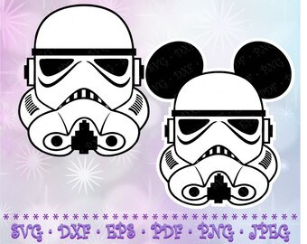 SVG DXF Star Wars Stormtrooper Mickey Disney Cut Files Cricut Designs Silhouette Studio Vinyl Decal Transfer Paper Tshirt Iron On Stencil
