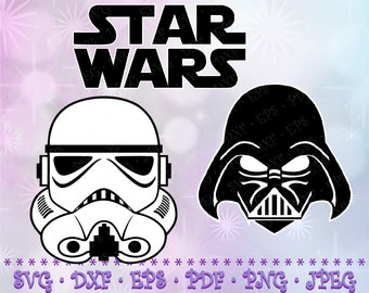 SVG Stormtrooper Darth Vader Star Wars Logo Cut Files Cricut Designs Silhouette Vinyl Decal Transfer Paper Tshirt Iron On Stencil Template