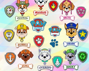 graphic relating to Free Printable Paw Patrol Badges titled Paw patrol badges Etsy