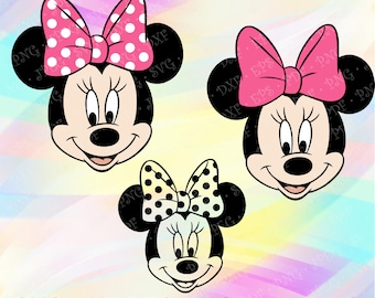 SVG Minnie Mouse Head Ears Pink Bow Disney Layered Cut Vector File Cricut Design Silhouette Studio Vinyl Decal Tshirt Iron On Coloring Pages