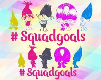 SVG PNG Squadgoals Princess Poppy Trolls Layered Cut Files Cricut Designs Silhouette Studio Vinyl Decal Tshirt Iron on Troll Coloring Pages