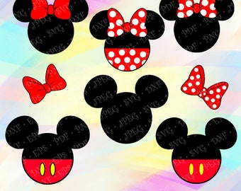 SVG Minnie Mickey Mouse Head Ears Red Bow Disney Layered Cut Vector Files Cricut Designs Silhouette Studio Cameo Vinyl Decal Tshirt Iron on