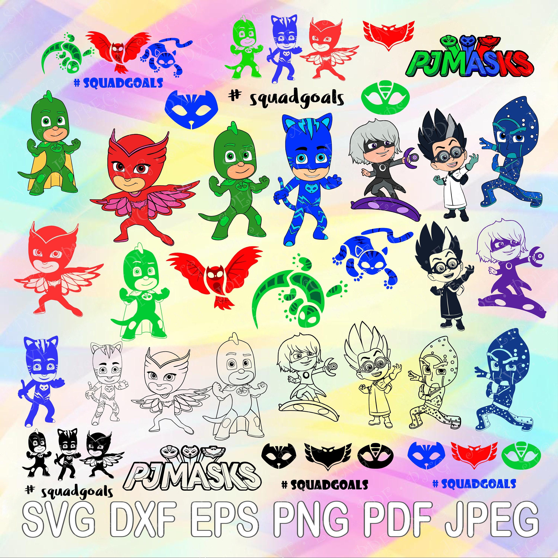 SVG DXF Png PJ Masks Squadgoals Catboy Gekko Owlette Lunetta | Etsy