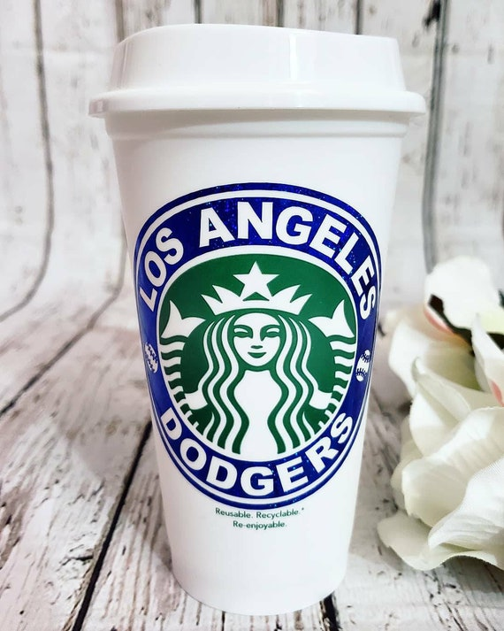 Los Angeles Dodgers Starbucks Coffee Cup La Dodgers 16 Oz Grande Starbucks Cup Reusable Dodgers Inspired Coffee Cup