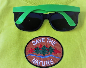 Sweet Lamb Clothing '2 Piece outfit 'Save The Nature' Lime Modified Shirt and sunglasses for Kids, boys, girls